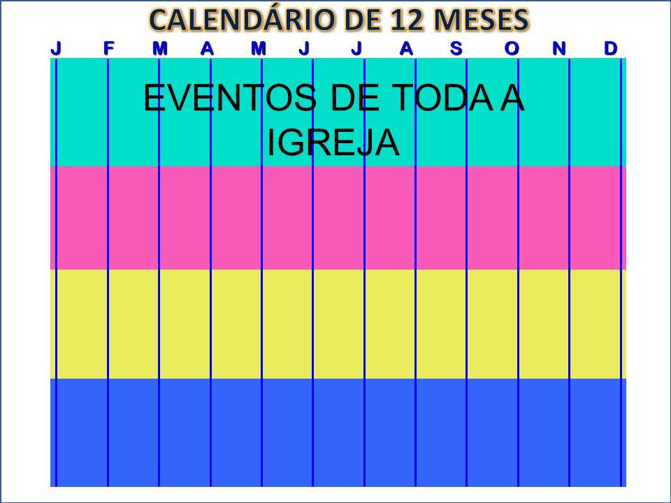 J F M A M J J A S O N D EVENTOS DA CONGREGAÇÃO EVENTOS DE TODA A IGREJA