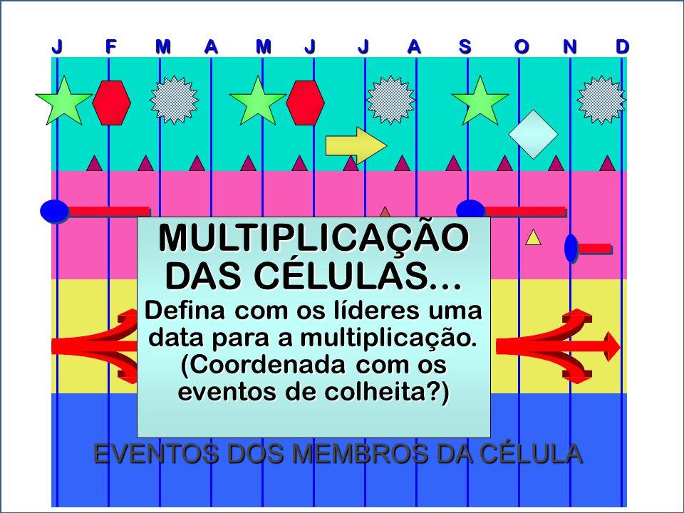 J F M A M J J A S O N D EVENTOS DOS MEMBROS DA CÉLULA MULTIPLICAÇÃO DAS CÉLULAS... Defina com os líderes uma data para a multiplicação. (Coordenada co