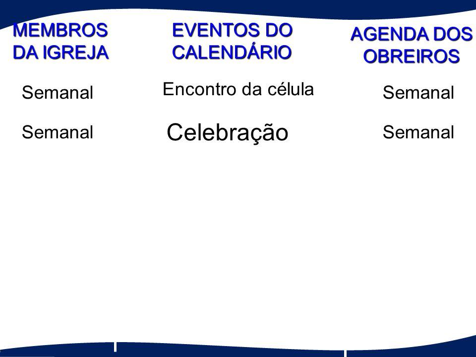 Ministração da Palavra Semanal Semanal OneTime Celebração SemanalSemanal Encontro da célula SemanalSemanal MEMBROS DA IGREJA EVENTOS DO CALENDÁRIO AGENDA DOS OBREIROS