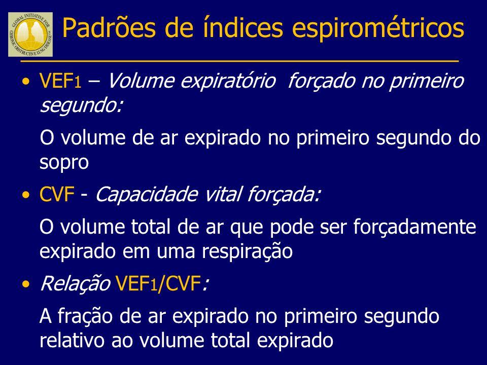 Padrões de índices espirométricos VEF 1 – Volume expiratório forçado no primeiro segundo: O volume de ar expirado no primeiro segundo do sopro CVF - C