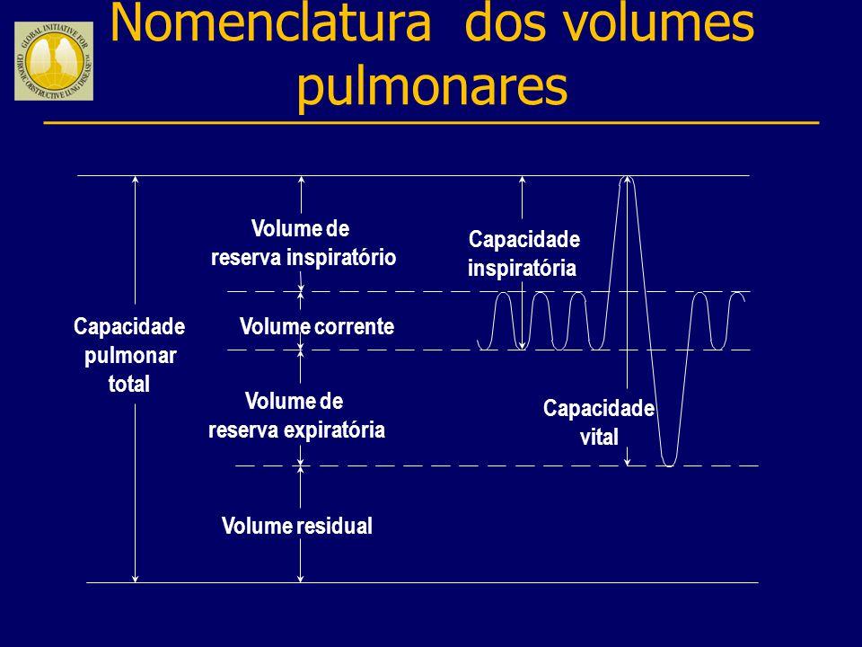 Capacidade pulmonar total Volume corrente Volume de reserva inspiratório Volume de reserva expiratória Volume residual Capacidade inspiratória Capacid