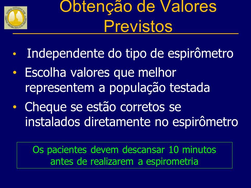 Obtenção de Valores Previstos Independente do tipo de espirômetro Escolha valores que melhor representem a população testada Cheque se estão corretos