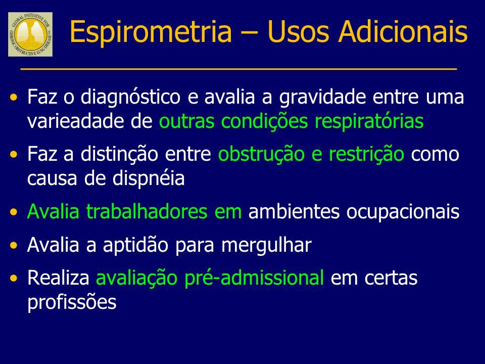 Volume, litros Tempo, segundos Distúrbio restritivo e misto obstrutivo-restritivo são dificeis de diagnosticar pela espirometria somente; testes de função pulmonar completos são habitualmente necessários (ex.