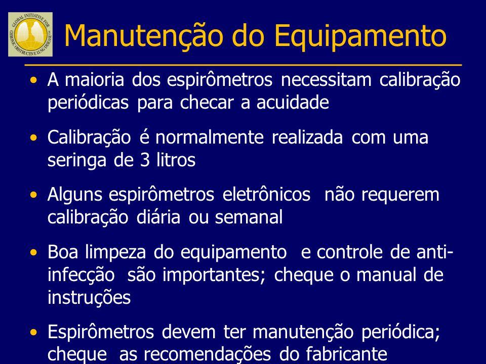 Manutenção do Equipamento A maioria dos espirômetros necessitam calibração periódicas para checar a acuidade Calibração é normalmente realizada com um