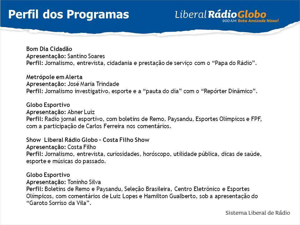 Perfil dos Programas Bom Dia Cidadão Apresentação: Santino Soares Perfil: Jornalismo, entrevista, cidadania e prestação de serviço com o Papa do Rádio