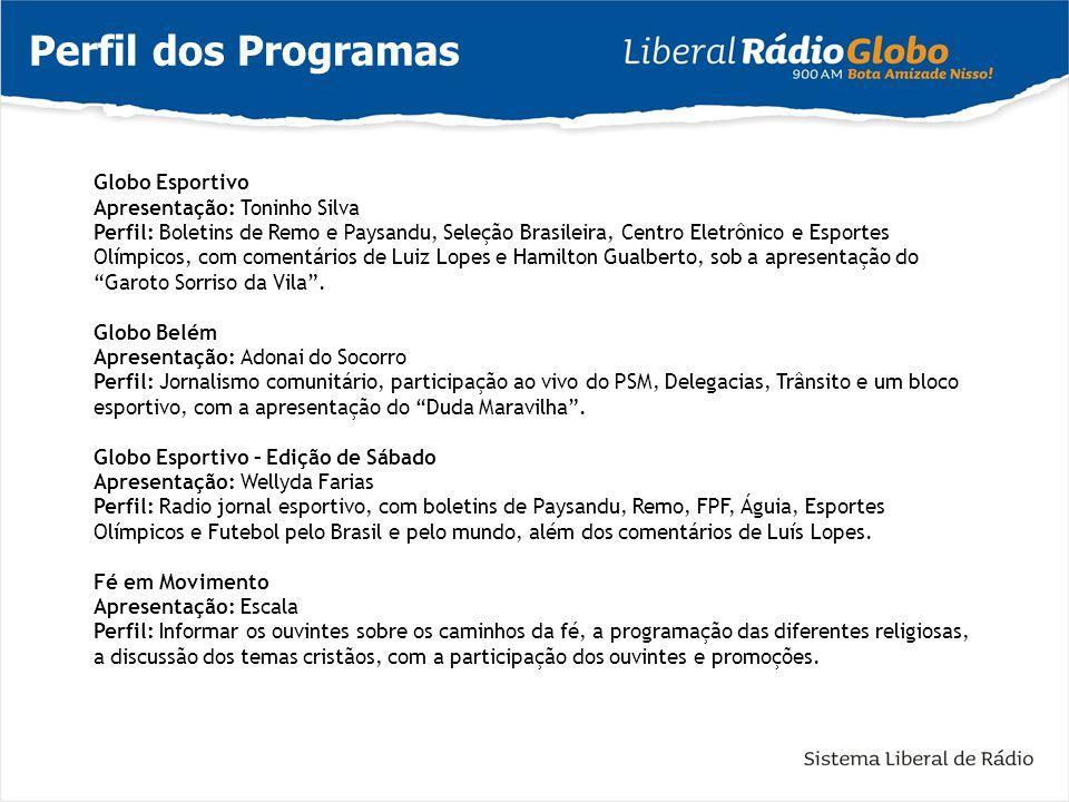Perfil dos Programas Globo Esportivo Apresentação: Toninho Silva Perfil: Boletins de Remo e Paysandu, Seleção Brasileira, Centro Eletrônico e Esportes