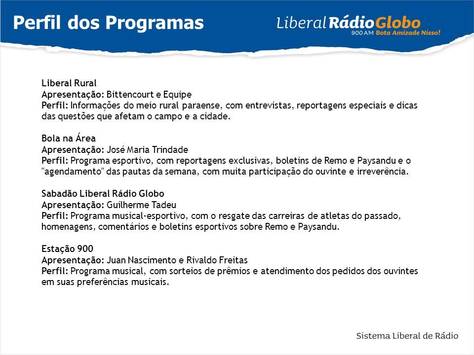 Perfil dos Programas Liberal Rural Apresentação: Bittencourt e Equipe Perfil: Informações do meio rural paraense, com entrevistas, reportagens especia
