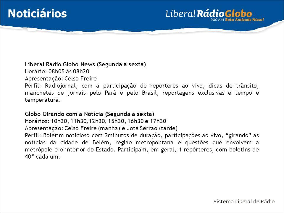 Noticiários Liberal Rádio Globo News (Segunda a sexta) Horário: 08h05 às 08h20 Apresentação: Celso Freire Perfil: Radiojornal, com a participação de r