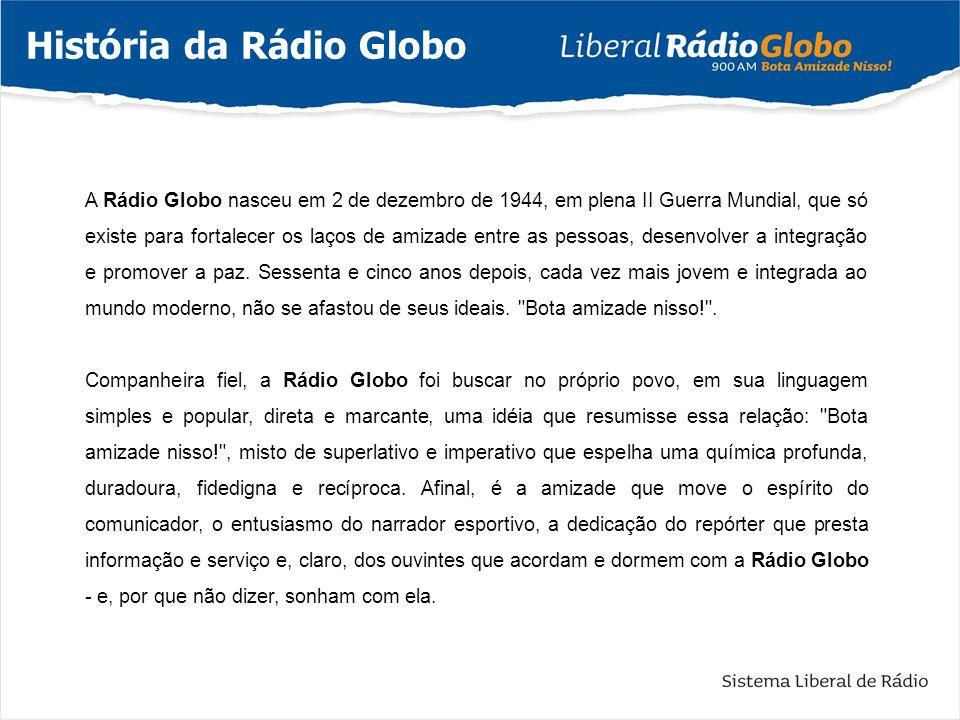A Rádio Globo nasceu em 2 de dezembro de 1944, em plena II Guerra Mundial, que só existe para fortalecer os laços de amizade entre as pessoas, desenvo