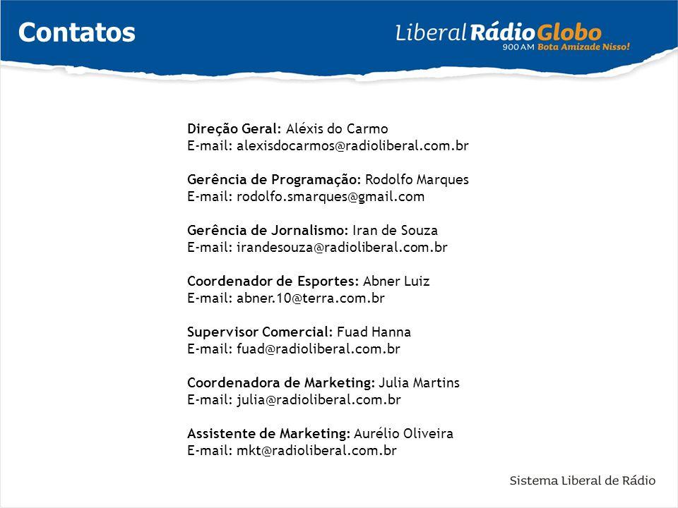Contatos Direção Geral: Aléxis do Carmo E-mail: alexisdocarmos@radioliberal.com.br Gerência de Programação: Rodolfo Marques E-mail: rodolfo.smarques@g