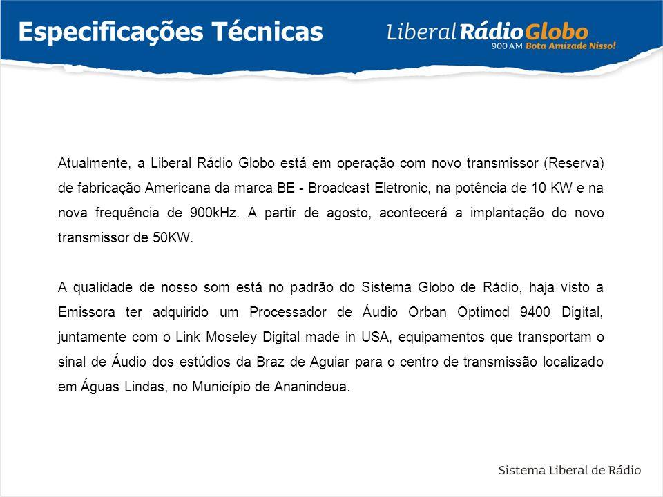 Atualmente, a Liberal Rádio Globo está em operação com novo transmissor (Reserva) de fabricação Americana da marca BE - Broadcast Eletronic, na potênc