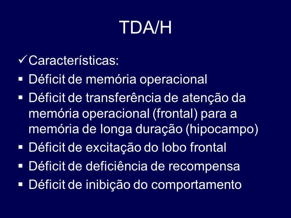 TDA/H Características: Déficit de memória operacional Déficit de transferência de atenção da memória operacional (frontal) para a memória de longa duração (hipocampo) Déficit de excitação do lobo frontal Déficit de deficiência de recompensa Déficit de inibição do comportamento