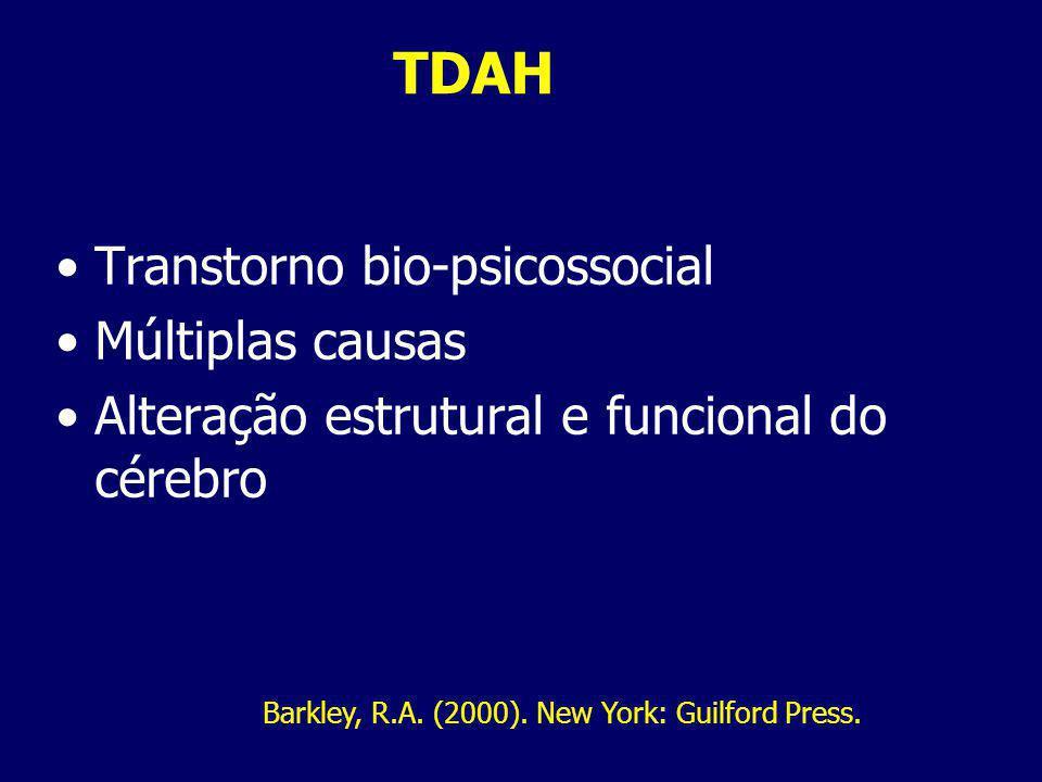 TDAH Transtorno bio-psicossocial Múltiplas causas Alteração estrutural e funcional do cérebro Barkley, R.A.
