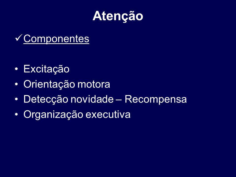Atenção Componentes Excitação Orientação motora Detecção novidade – Recompensa Organização executiva