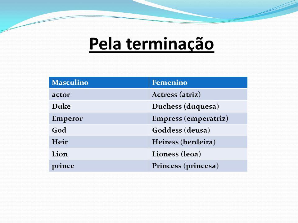 Pela terminação MasculinoFemenino actorActress (atriz) DukeDuchess (duquesa) EmperorEmpress (emperatriz) GodGoddess (deusa) HeirHeiress (herdeira) Lio