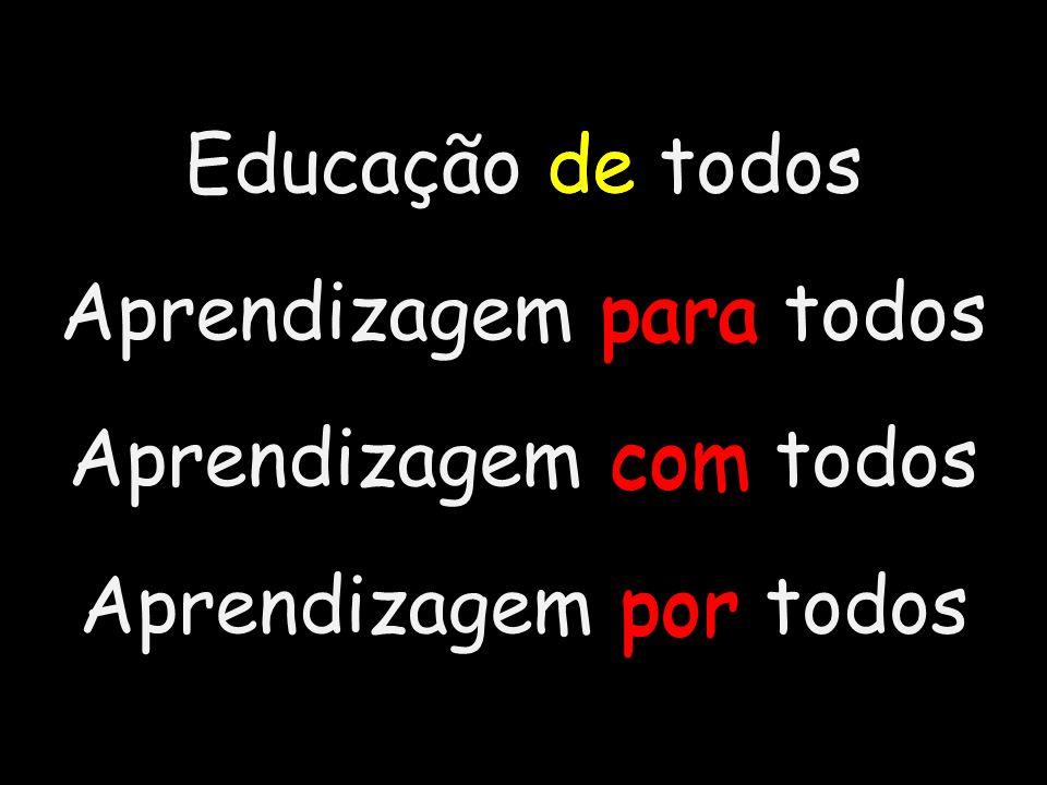 Educação de todos Aprendizagem para todos Aprendizagem com todos Aprendizagem por todos de para por com