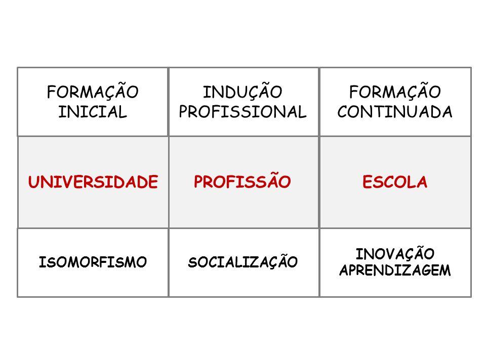 FORMAÇÃO INICIAL INDUÇÃO PROFISSIONAL FORMAÇÃO CONTINUADA ISOMORFISMO PROFISSÃO INOVAÇÃO APRENDIZAGEM UNIVERSIDADE SOCIALIZAÇÃO ESCOLA
