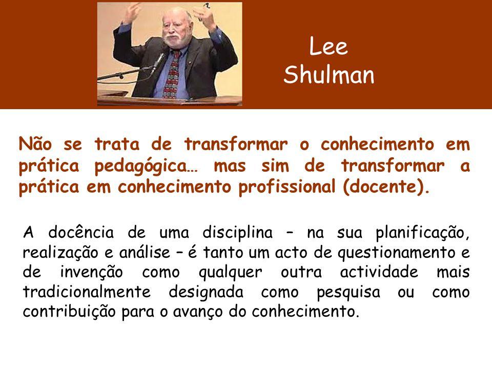 Não se trata de transformar o conhecimento em prática pedagógica… mas sim de transformar a prática em conhecimento profissional (docente). A docência