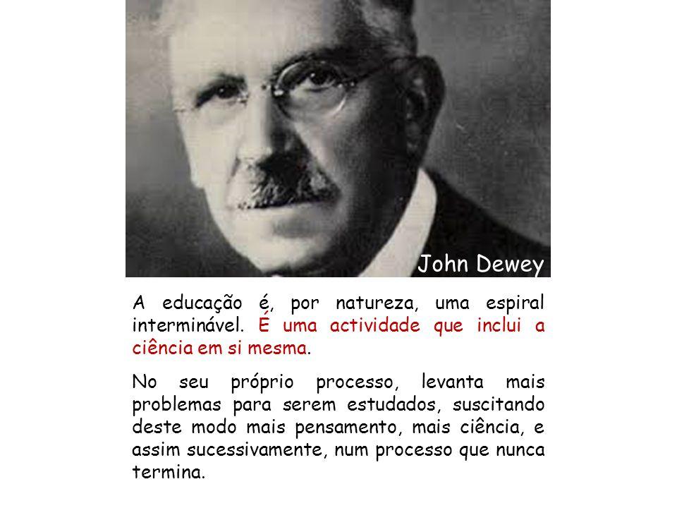 A educação é, por natureza, uma espiral interminável. É uma actividade que inclui a ciência em si mesma. No seu próprio processo, levanta mais problem