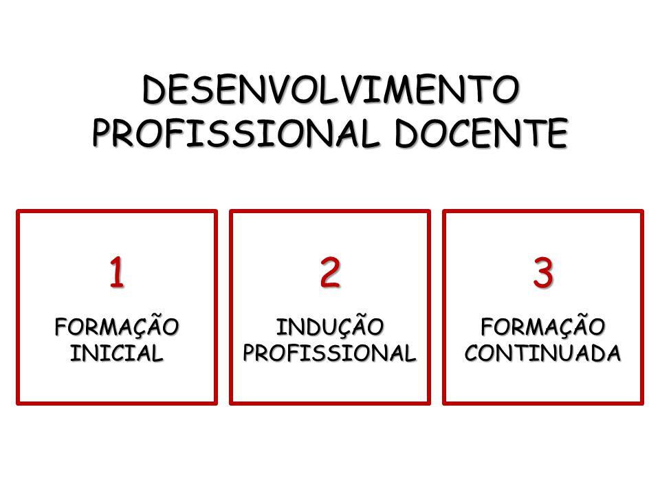 1 FORMAÇÃO INICIAL 2 INDUÇÃO PROFISSIONAL 3 FORMAÇÃO CONTINUADA DESENVOLVIMENTO PROFISSIONAL DOCENTE