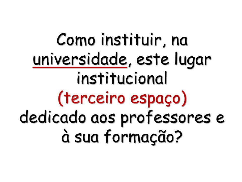 Como instituir, na universidade, este lugar institucional (terceiro espaço) dedicado aos professores e à sua formação?