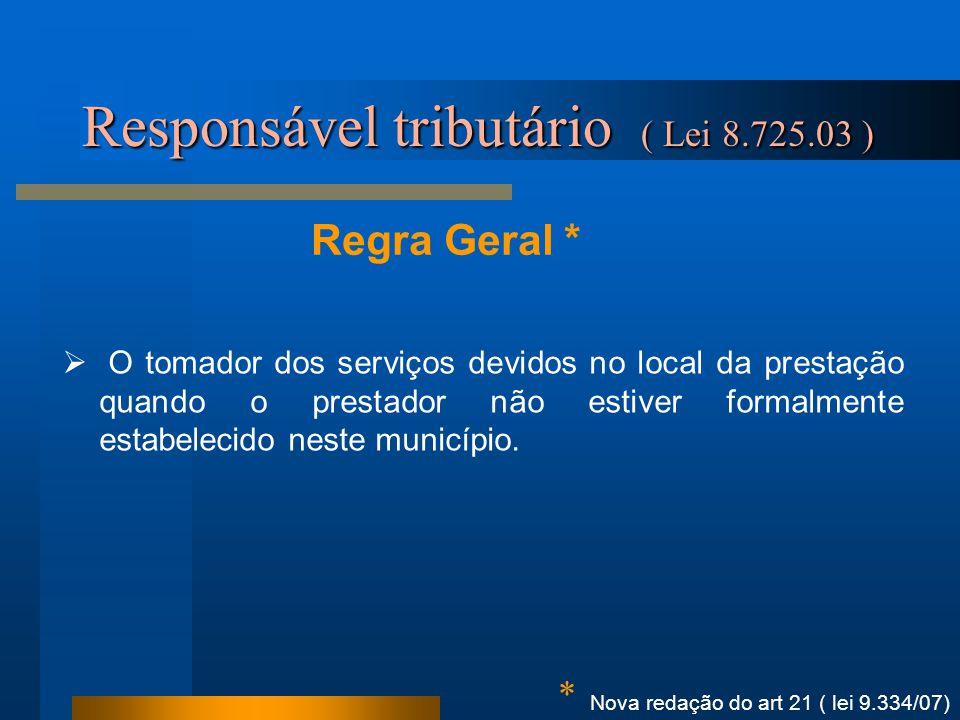 Regra Geral * Responsável tributário ( Lei 8.725.03 ) Nova redação do art 21 ( lei 9.334/07) * O tomador dos serviços devidos no local da prestação qu
