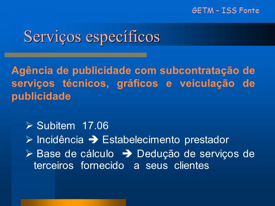 Serviços específicos Agência de publicidade com subcontratação de serviços técnicos, gráficos e veiculação de publicidade Subitem 17.06 Incidência Est