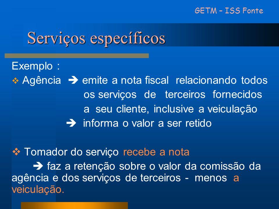 Serviços específicos Exemplo : Agência emite a nota fiscal relacionando todos os serviços de terceiros fornecidos a seu cliente, inclusive a veiculaçã