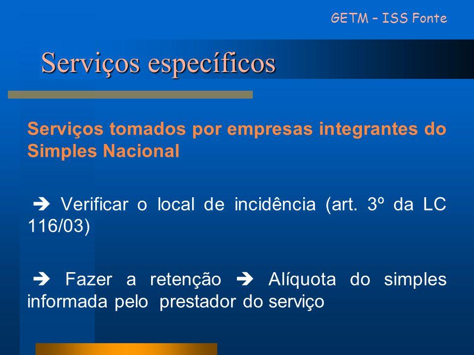 Serviços específicos Serviços tomados por empresas integrantes do Simples Nacional Verificar o local de incidência (art. 3º da LC 116/03) Fazer a rete
