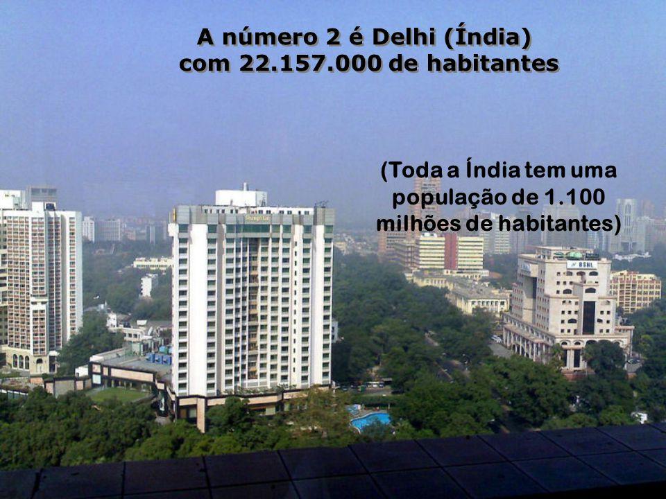 A número 3 é São Paulo (Brasil) com 20.262.000 de habitantes Uma cidade que cresce em passos gigantescos.