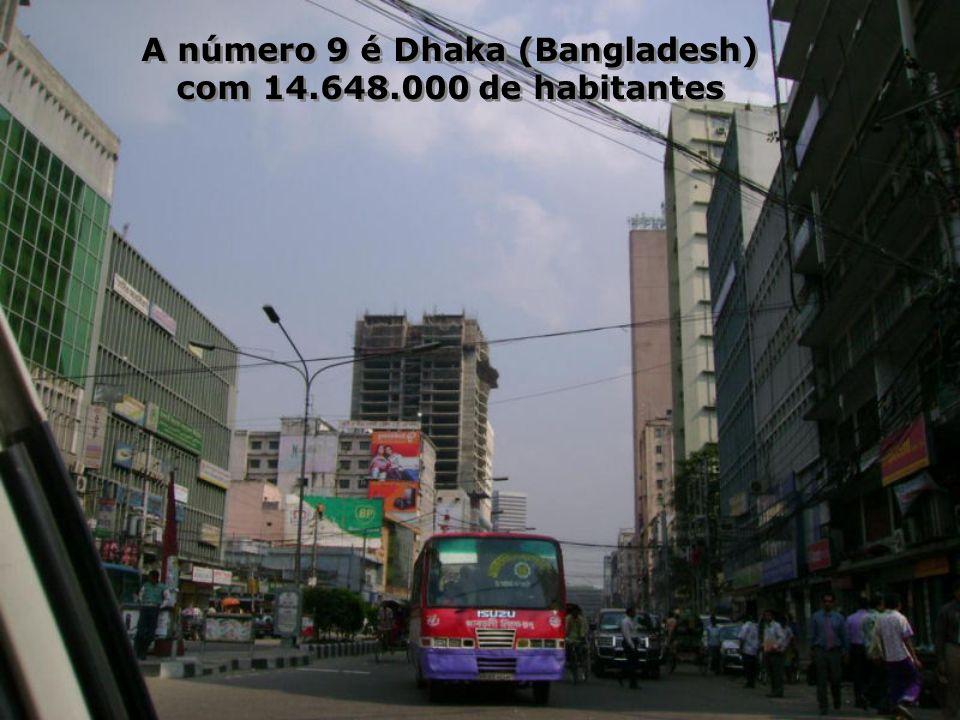 No posto de número 10 está Karachi (Paquistão), com 13.125.000 de habitantes