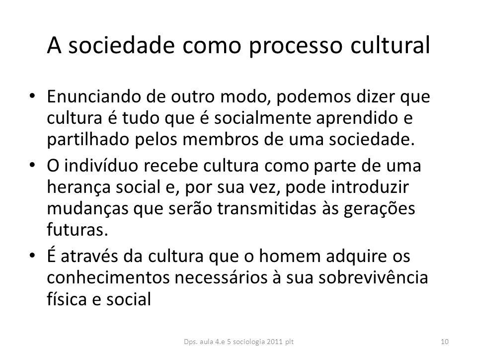 A sociedade como processo cultural Enunciando de outro modo, podemos dizer que cultura é tudo que é socialmente aprendido e partilhado pelos membros de uma sociedade.