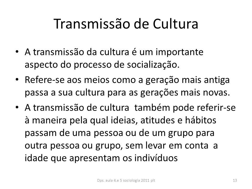 Transmissão de Cultura A transmissão da cultura é um importante aspecto do processo de socialização.