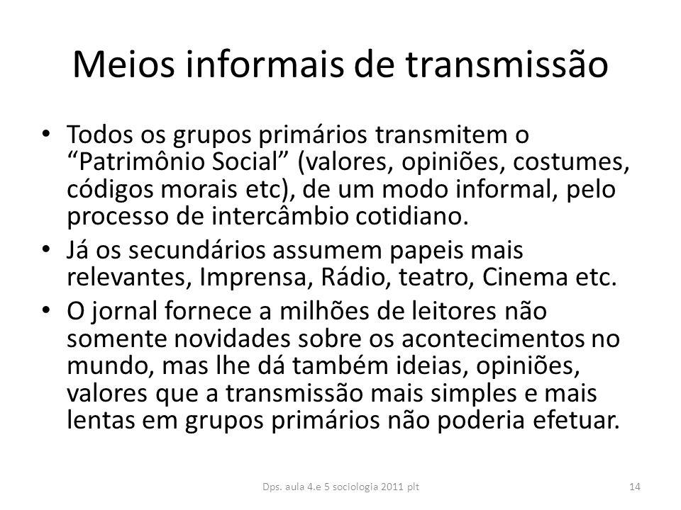 Meios informais de transmissão Todos os grupos primários transmitem o Patrimônio Social (valores, opiniões, costumes, códigos morais etc), de um modo informal, pelo processo de intercâmbio cotidiano.