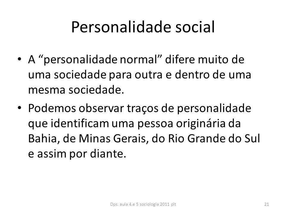 Personalidade social A personalidade normal difere muito de uma sociedade para outra e dentro de uma mesma sociedade.