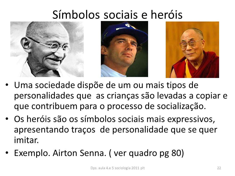 Símbolos sociais e heróis Uma sociedade dispõe de um ou mais tipos de personalidades que as crianças são levadas a copiar e que contribuem para o processo de socialização.