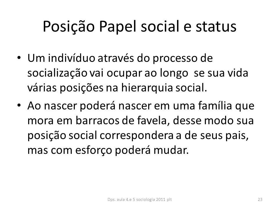 Posição Papel social e status Um indivíduo através do processo de socialização vai ocupar ao longo se sua vida várias posições na hierarquia social.