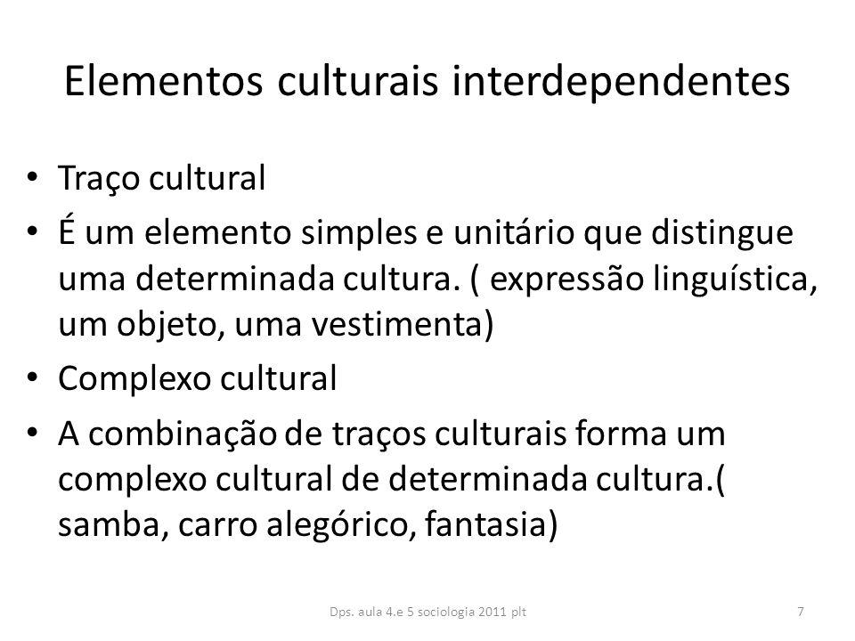 Elementos culturais interdependentes Traço cultural É um elemento simples e unitário que distingue uma determinada cultura.