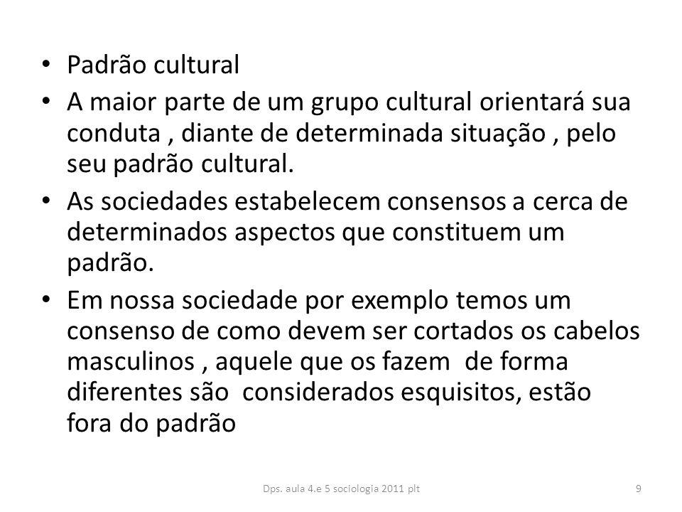 Padrão cultural A maior parte de um grupo cultural orientará sua conduta, diante de determinada situação, pelo seu padrão cultural.