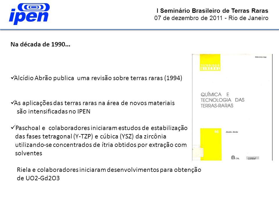 Na década de 1990... Alcídio Abrão publica uma revisão sobre terras raras (1994) As aplicações das terras raras na área de novos materiais são intensi