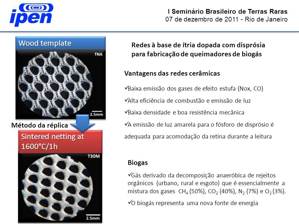 I Seminário Brasileiro de Terras Raras 07 de dezembro de 2011 - Rio de Janeiro Sintered netting at 1600°C/1h Wood template Método da réplica Redes à b