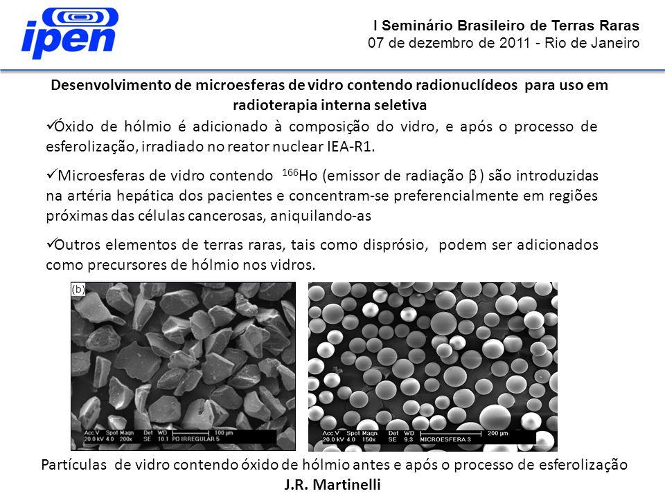 I Seminário Brasileiro de Terras Raras 07 de dezembro de 2011 - Rio de Janeiro Desenvolvimento de microesferas de vidro contendo radionuclídeos para u