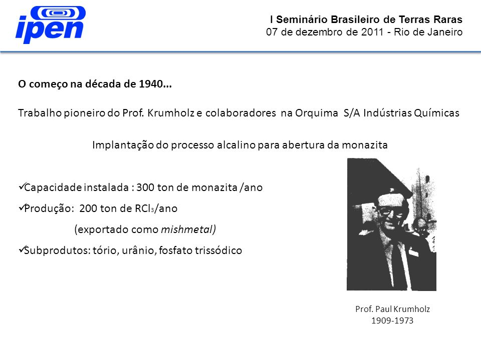 O começo na década de 1940... Trabalho pioneiro do Prof. Krumholz e colaboradores na Orquima S/A Indústrias Químicas Implantação do processo alcalino