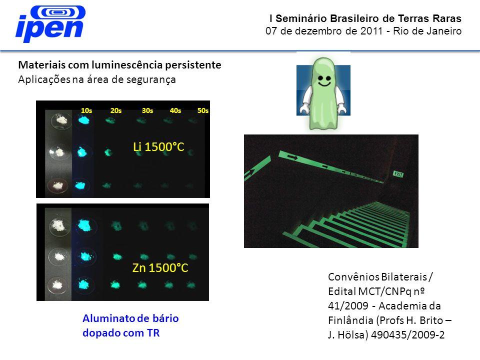 I Seminário Brasileiro de Terras Raras 07 de dezembro de 2011 - Rio de Janeiro Materiais com luminescência persistente Aplicações na área de segurança
