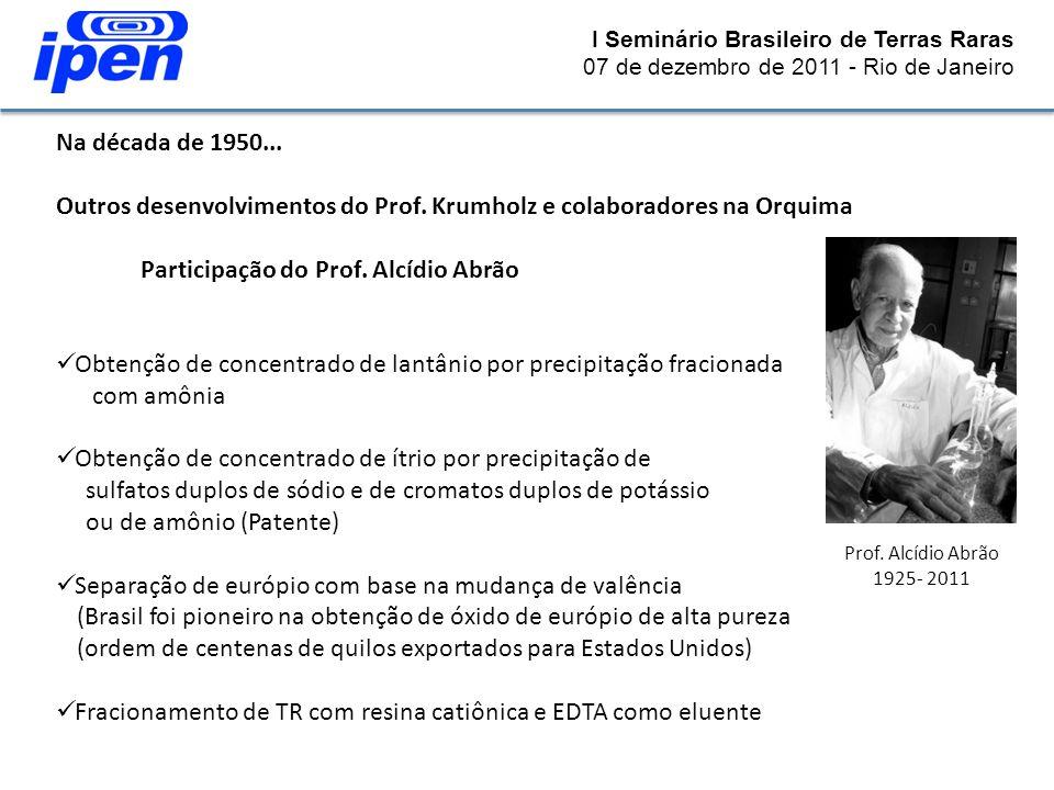 I Seminário Brasileiro de Terras Raras 07 de dezembro de 2011 - Rio de Janeiro Na década de 1950... Outros desenvolvimentos do Prof. Krumholz e colabo