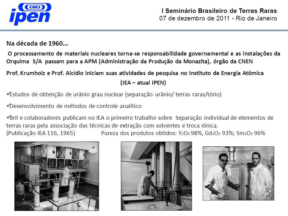 I Seminário Brasileiro de Terras Raras 07 de dezembro de 2011 - Rio de Janeiro Na década de 1960... O processamento de materiais nucleares torna-se re