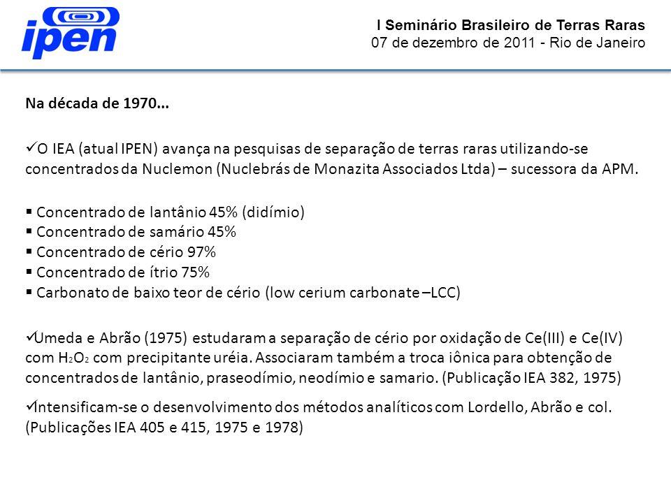 I Seminário Brasileiro de Terras Raras 07 de dezembro de 2011 - Rio de Janeiro Na década de 1970... O IEA (atual IPEN) avança na pesquisas de separaçã
