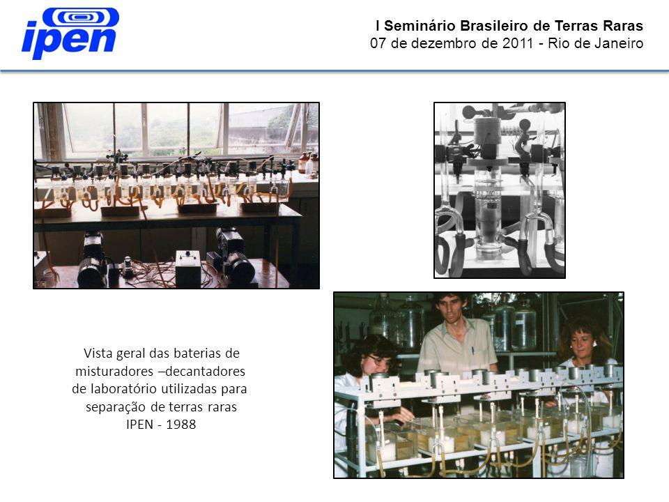 Vista geral das baterias de misturadores –decantadores de laboratório utilizadas para separação de terras raras IPEN - 1988 I Seminário Brasileiro de