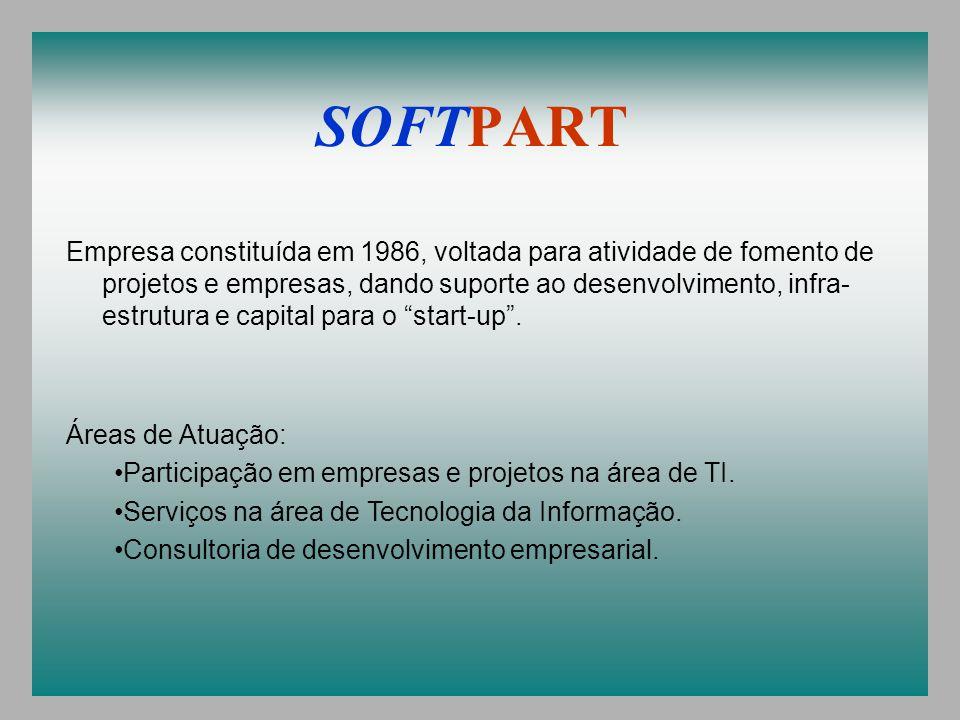 SOFTPART Empresa constituída em 1986, voltada para atividade de fomento de projetos e empresas, dando suporte ao desenvolvimento, infra- estrutura e capital para o start-up.