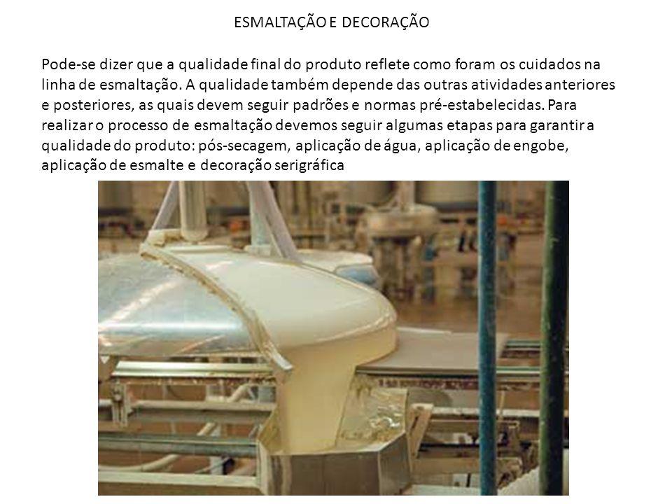 ESMALTAÇÃO E DECORAÇÃO Pode-se dizer que a qualidade final do produto reflete como foram os cuidados na linha de esmaltação. A qualidade também depend